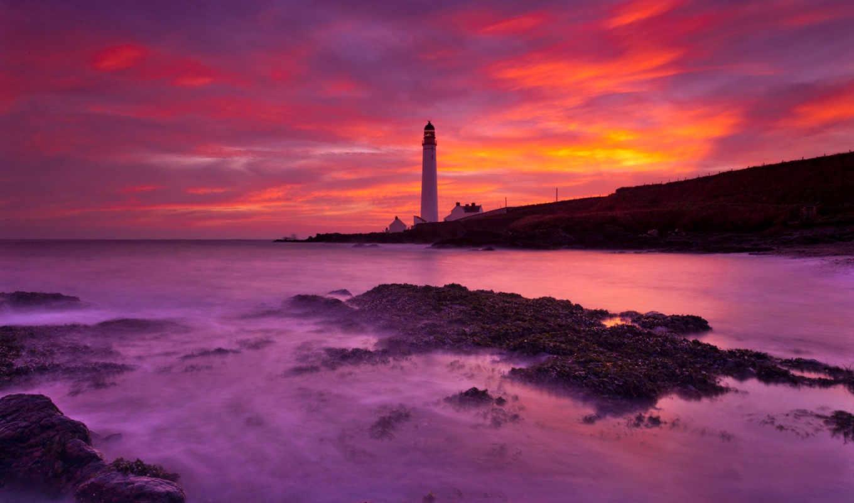 lighthouse, рассвет, пляж, берег, landscape, ocean, страница, newest,