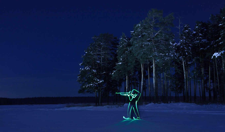 биатлон, силуэт, лес, олимпиада, зима, ночь,