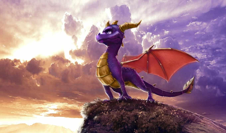 spyro, dragon, рисунок, облака, art, legend, dawn, digital, free,