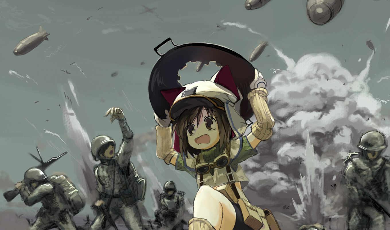 война, солдаты, бомбы, девочка, бежит, anime, смотрите, cartoon, похожие, монитора, экрана, номером,