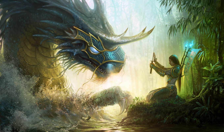 magic, might, heroes, девушка, лес, меч, вода, монстр, девушки,