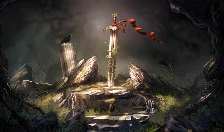 мечь, экскалибур, камень, гора, сказка,