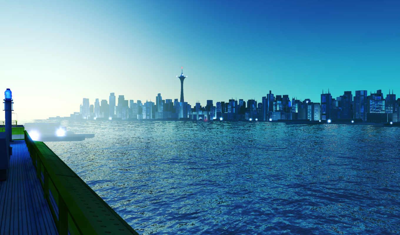 skyline, город, blue, desktop,
