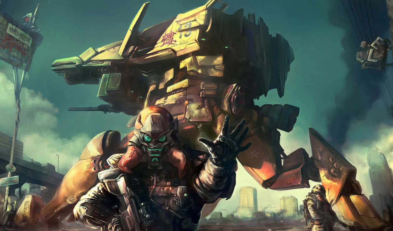 робот, дым, солдат, оружие, броня, картинка, area, restricted, resolution, воин, similar, art,