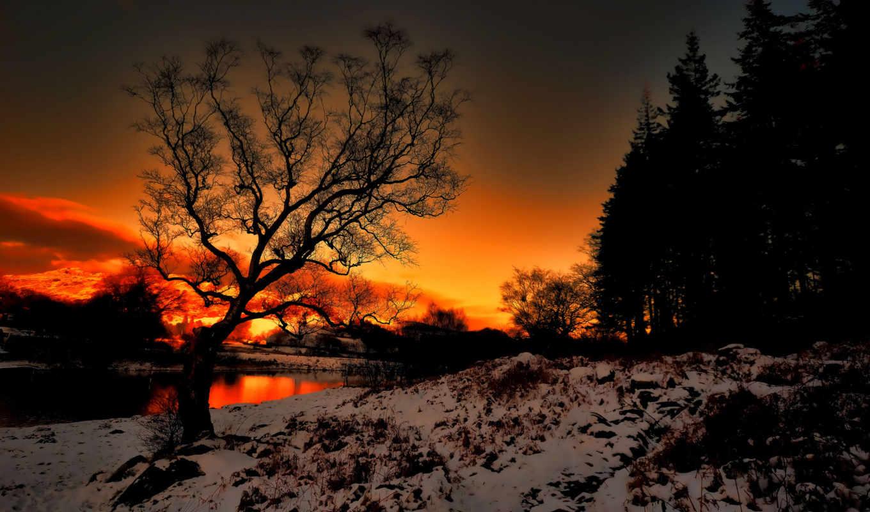 пейзаж, закат, снег, река, картинка, картинку, выберите, пейзажи, кнопкой, мыши, ней, правой, скачивания, winter, nature,