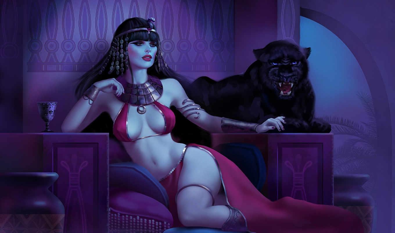 пантера, девушка, арт,