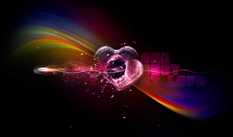 сердца, два, любовь, радуга, графика, пуля