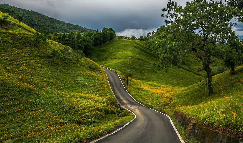 дорога, winding, long, goo, европе, дороги, впереди, сельские, landscape,