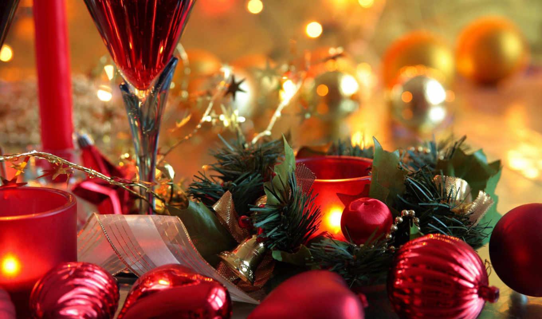 новый, год, праздник, красный, шарики, рождество, свечи, картинка,