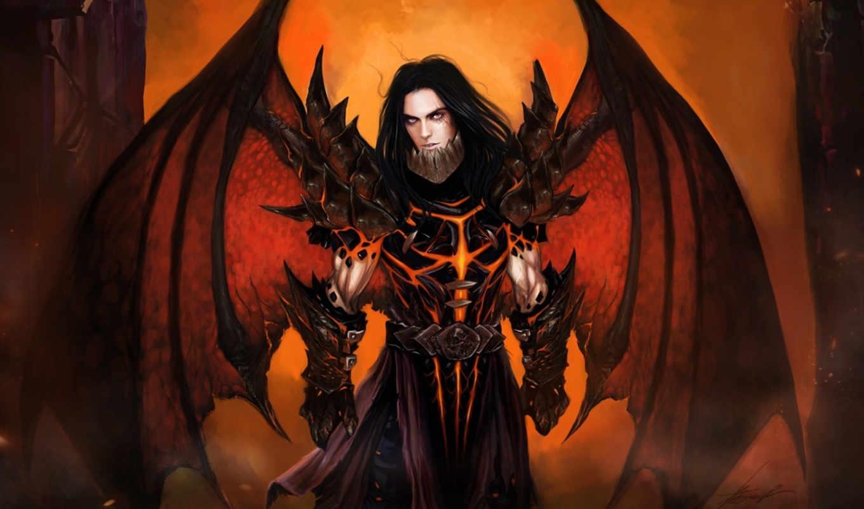 арт, широкоформатные, демон, парень, крылья, броня,