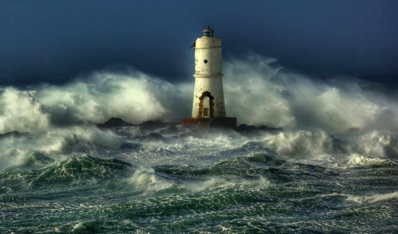 шторм, маяк, море,