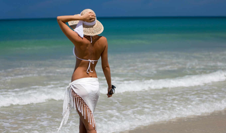 девушка, море, шляпа, купальник, пляж,