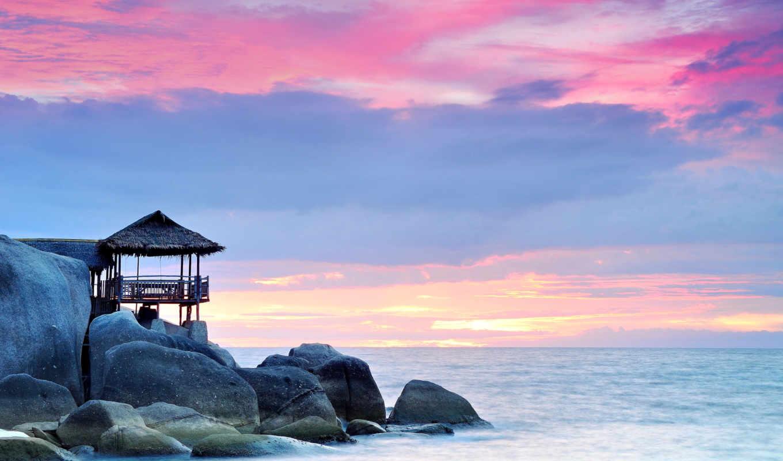 fondos, голубое, pantalla, камни, морем, со, небо, скалы, рассвет, por,