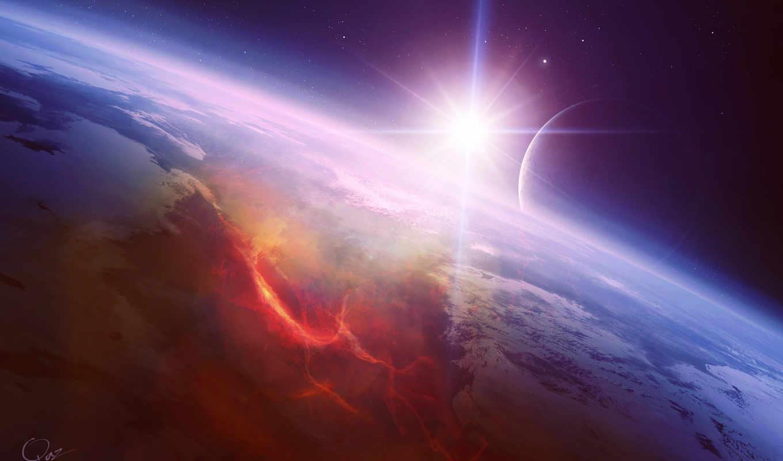 , звезда, лава, планета, разлом, спутник, космос, арт, desktop,,