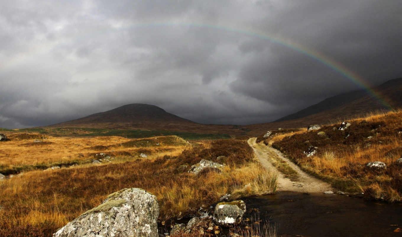 радуга, небо, oblaka, серый, шотландия,
