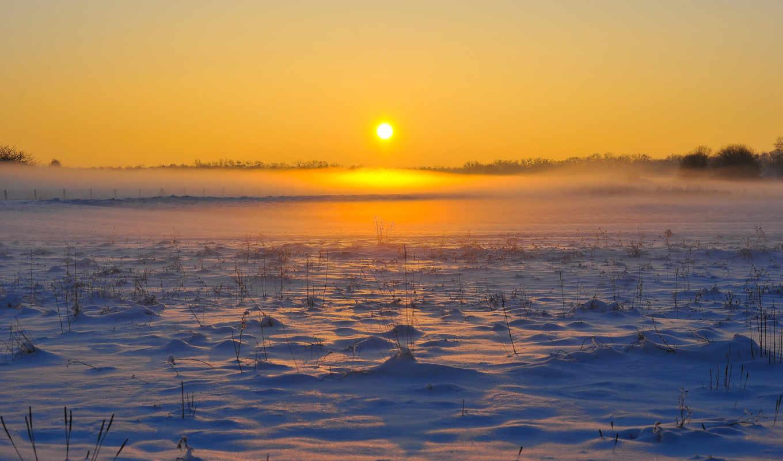 рассвет, mist, winter, снег, небо, поле, лес, горизонт,