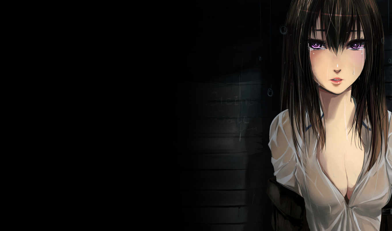 cry, anime, девушка, gate, steins, рубашка, makise, kurisu,