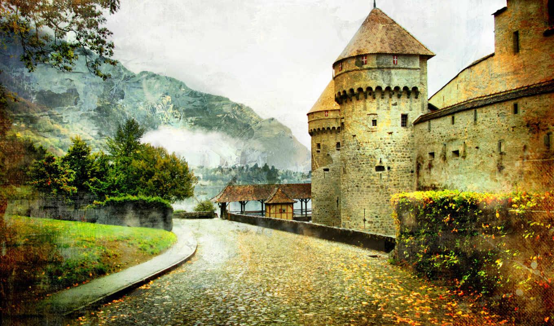 castle, сказочный, дорога, landscape, vintage,