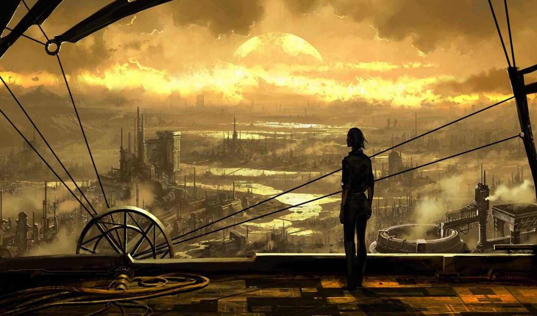 steampunk, стимпанк, паропанк, будущее, смешной, gorod, art, klikabelnyi, небо, еще, komment