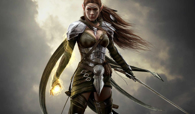 воин, девушка, online, маг, elder, эльф, прокрутка, меч,