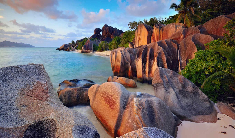 острова, остров, диг, сейшельские, ocean, картинка, indian, значок,