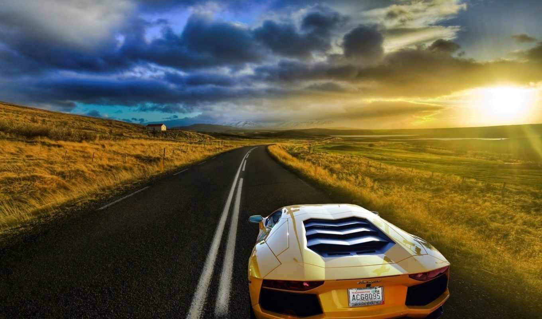 дорога, закат, ламборгини, машина, lamborghini, дороге, empty, ламборджини,