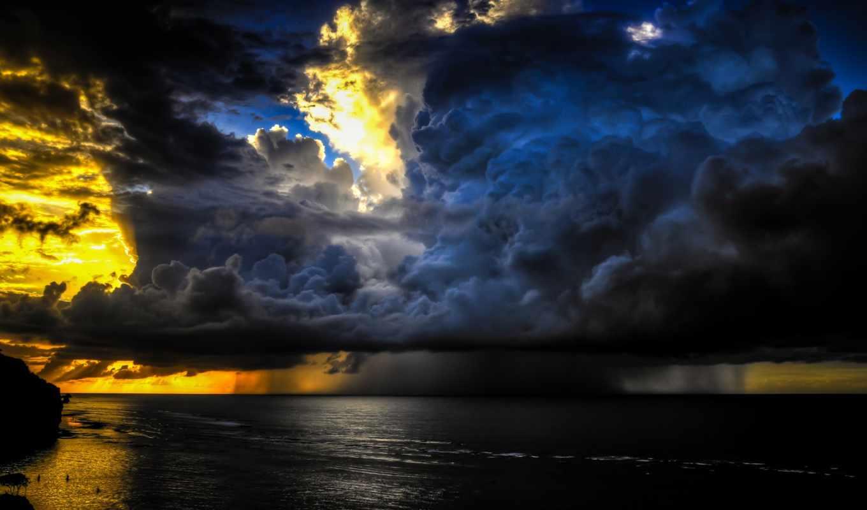 небо, дождь, море, природа, облака, тучи,