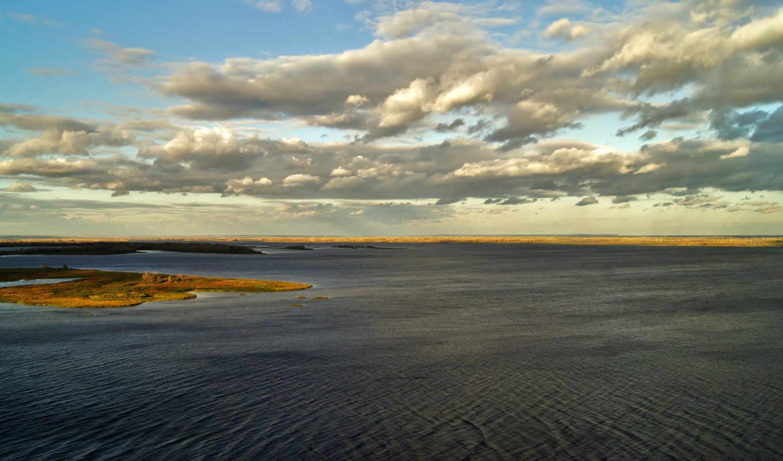 река, небо, берега, острова,