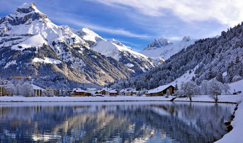 ,Пейзаж, Швейцария, Энгельберг, engelberg, Водоем, switzerland, Горы, Зима,