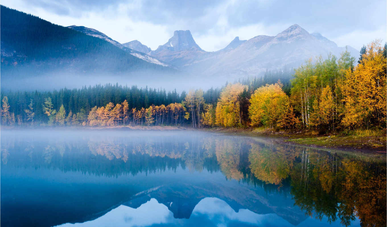 priroda, рыбалка, ozero, горы, osen, voda, krasivo, les, отражение, утро,