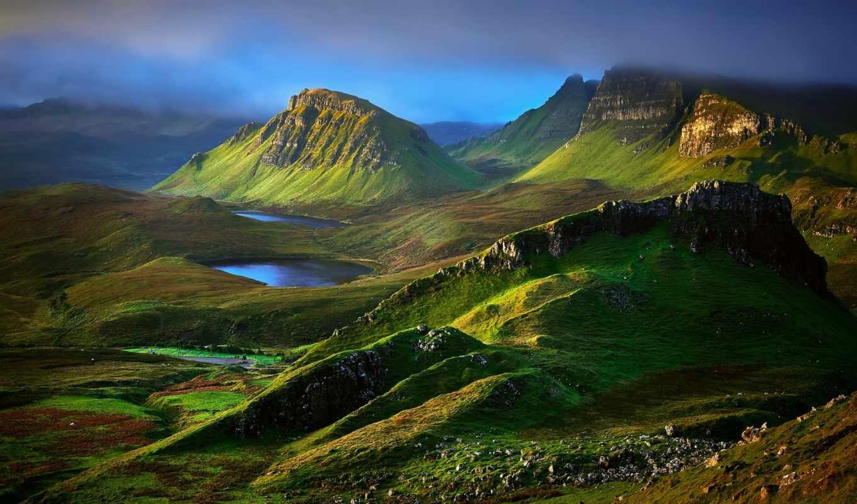 шотландия, горы, природа, landscape, холмы, озеро, isle, площадь, skye, картинка,