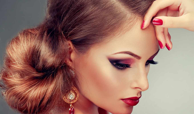 клипарт, девушка, макияж, красивая, сток, макияжем, stylish, растровый,