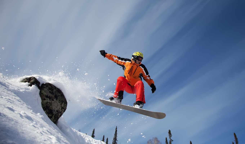 сноуборд, спорт, снег, прыжок, горы, камень, деревья,