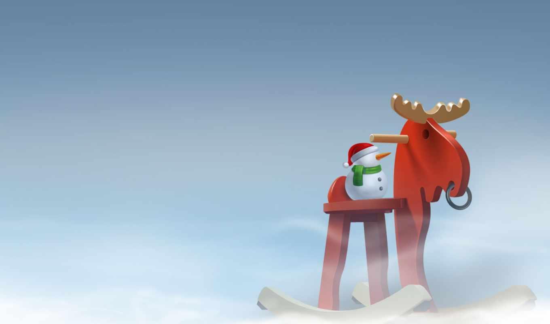 минимализм, новый, год, снег, снеговик, лошадь,