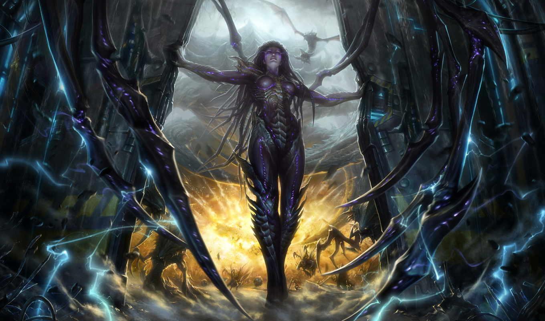 starcraft, керриган, swarm, сердце, картинка, queen, sarah,