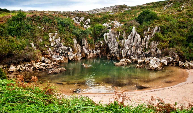 gulpiyuri, playa, пляж, гульпиюри, завораживающие, природы, ландшафты,
