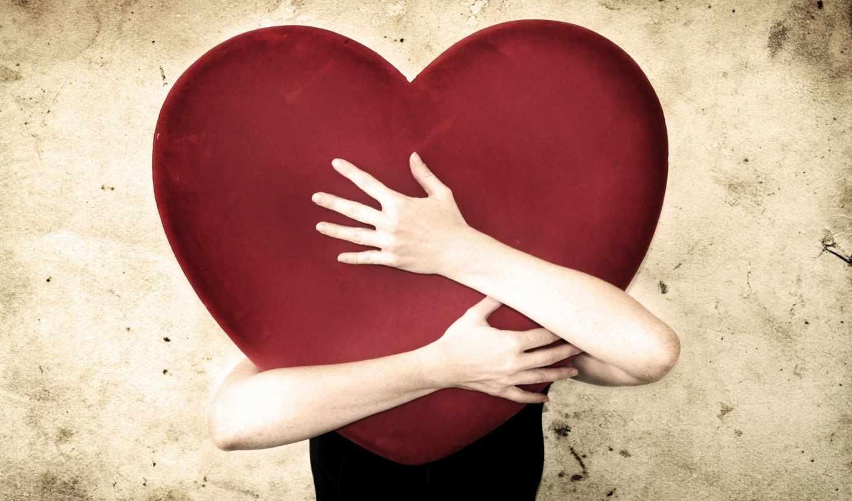 сердце, любовь, красный, обнять