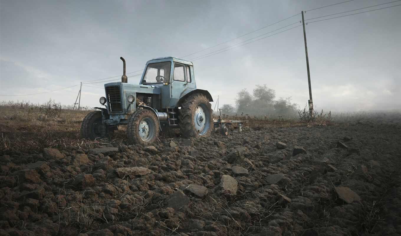 трактор, поле, небо, техника,
