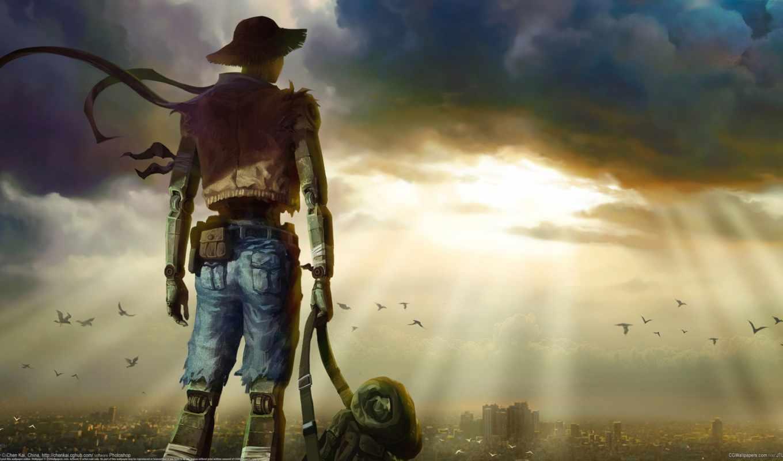 cyborg, robot, фантастика, киборг, стимпанк, sci, город, art, красивых, steampunk,