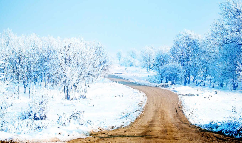 winter, девушка, дек, дорога, фоны, trees, заставки, new, год,