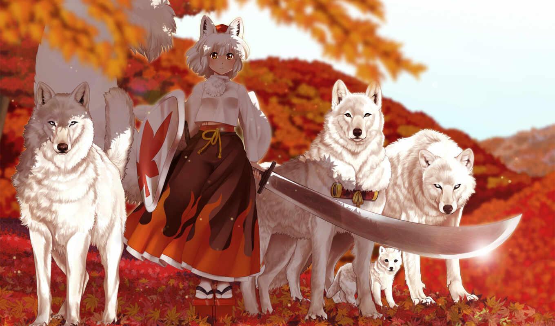 девушка, кимоно, волк, anim, anime, рисованный, овцы, animal