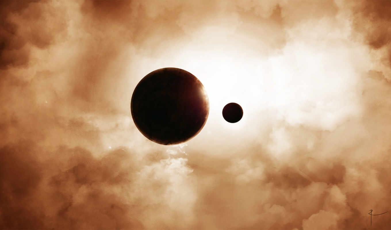 космос, туманность, планета, спутник, свет, облака,