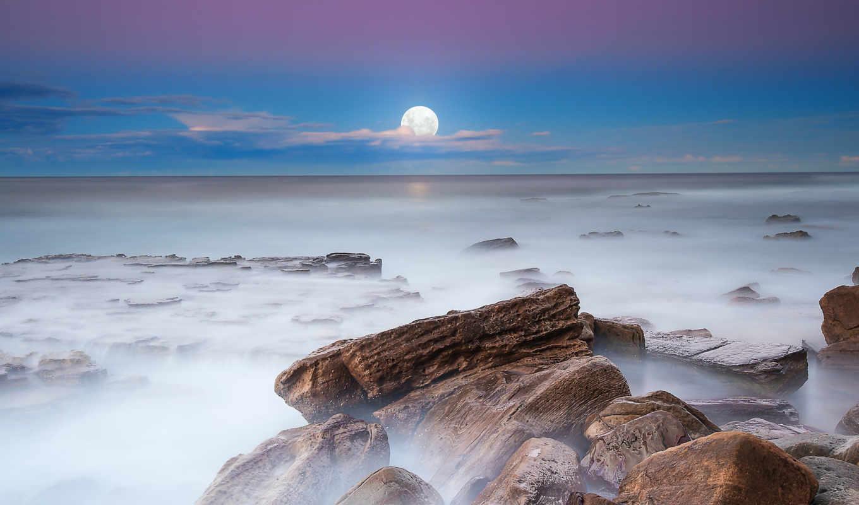 луна, вечер, ночь, камни, туман, выдержка, небо, картинка,