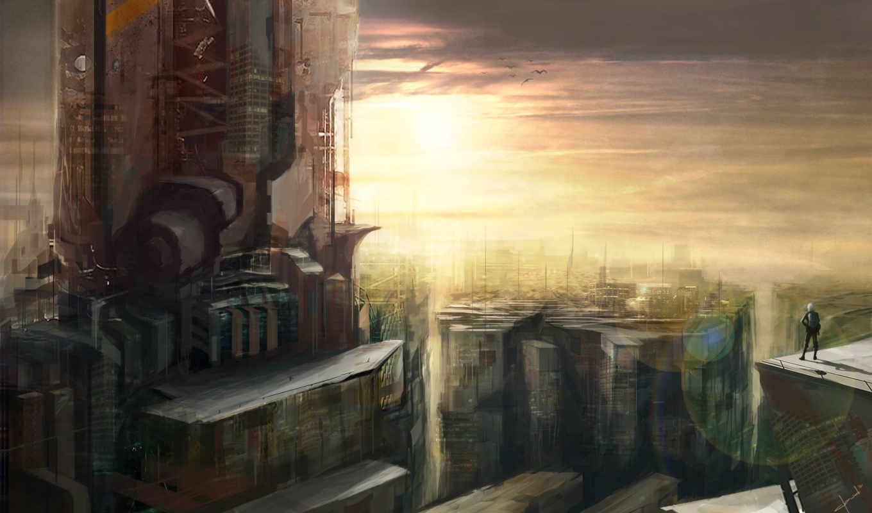 фантастика, будущее, город, art, здания,