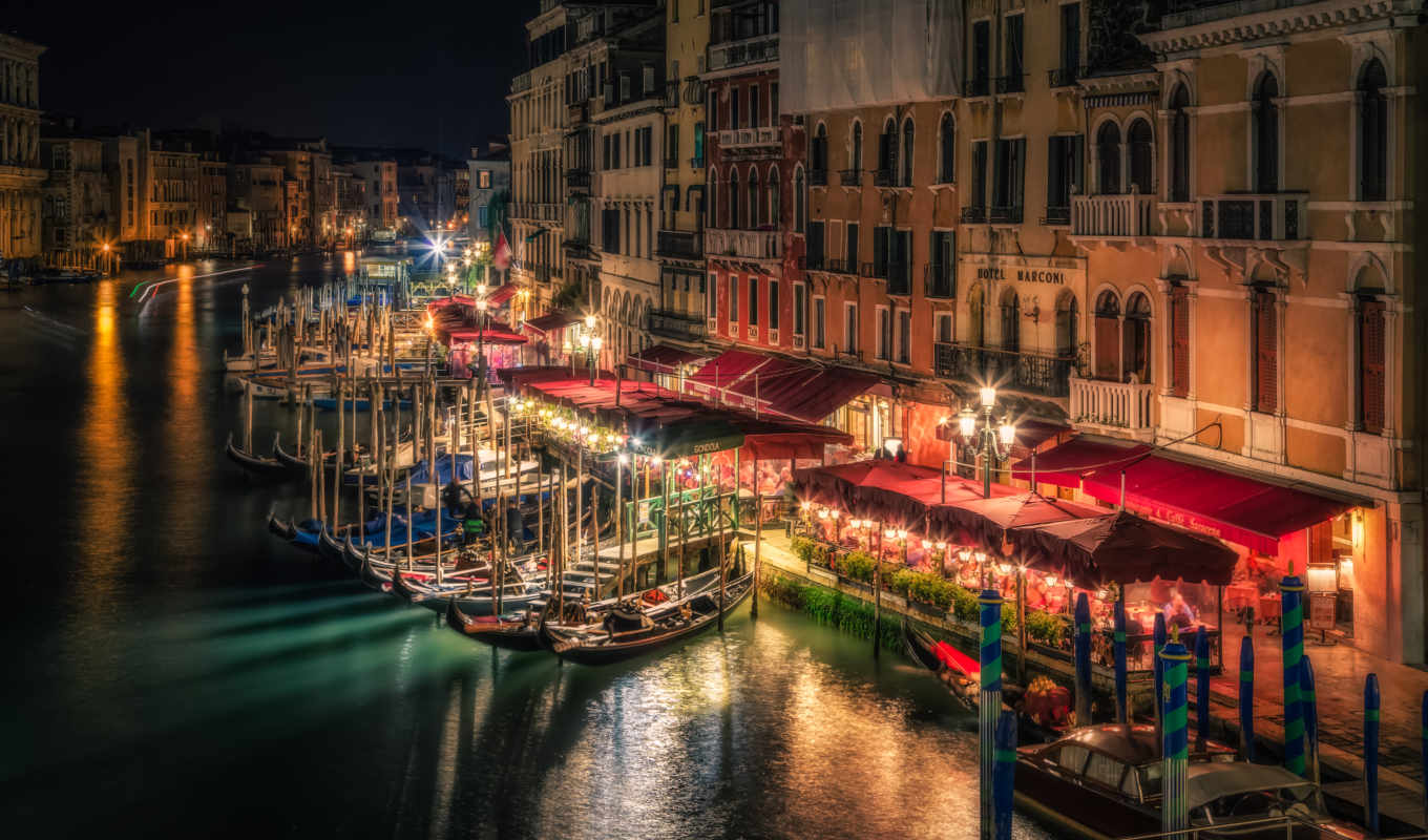 ночь, venice, canal, grand, italy, flickr,