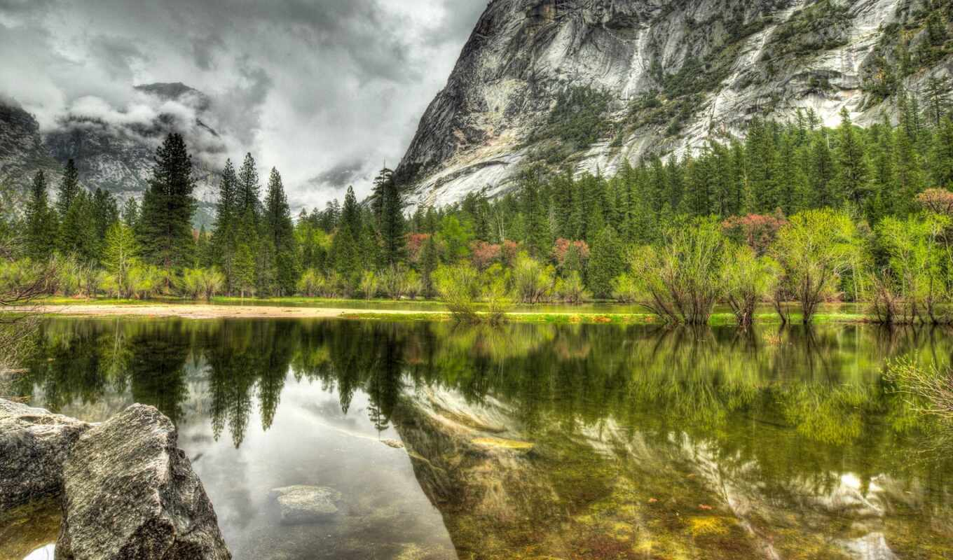 park, природа, осень, гора, national, clouds, hdr, yosemite, trees,