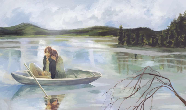 девушка, рисунок, лодка, bokura, парень, ита, anime, branch, озеро, nanami,