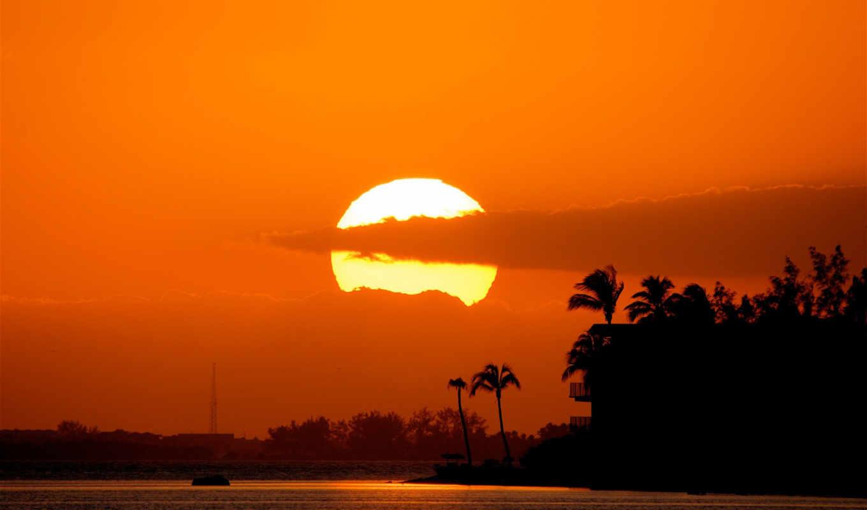 закат, солнце, пальмы, тучи, море, прекрасный, sky,
