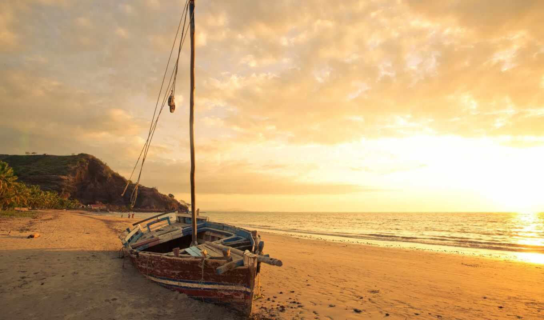 лодка, море, песок, пляж, рассвет,