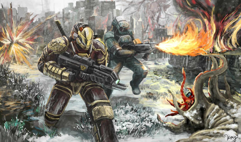 монстры, оружие, огнемёт, город, пламя, солдаты, доспех, reservation, огонь, крылья,